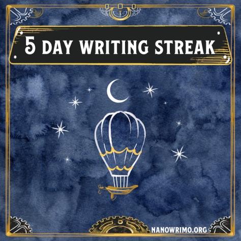 Day 5 writing badge